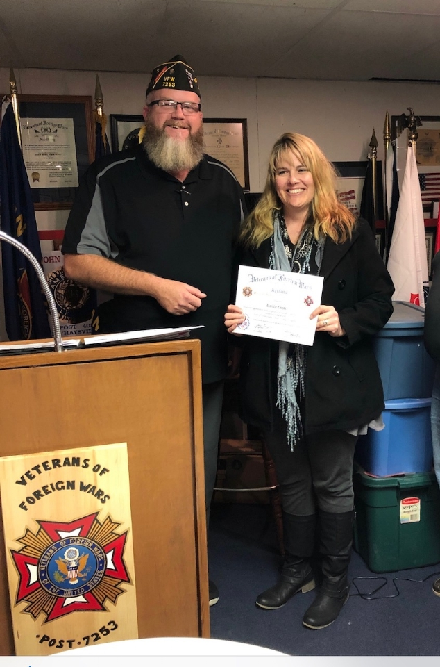 Kristy helped promote the VFW Youth programs that help ensure we had plenty of entries to judge!