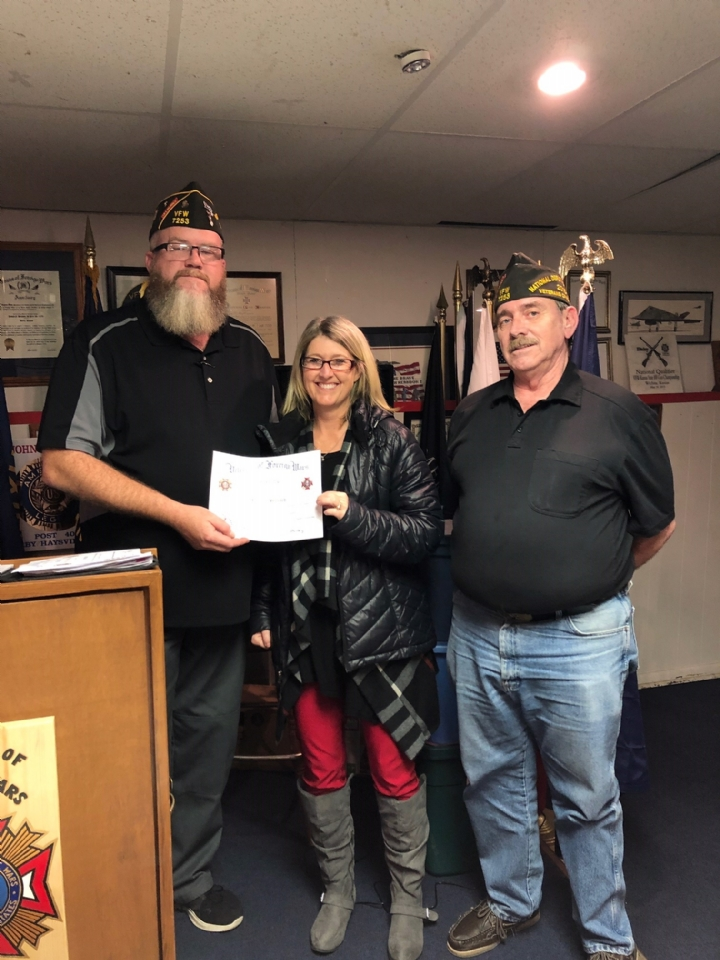 Michelle helped promote VFW Youth Programs and helped get us entries. One of her students was a post winner in the Voice of Democracy.