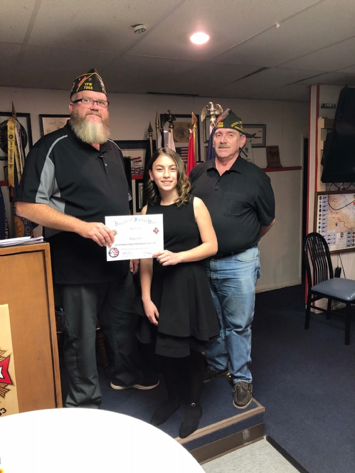 VFW Post 7253 Patriots Pen Winner Alissa Fair from Udall Middle School