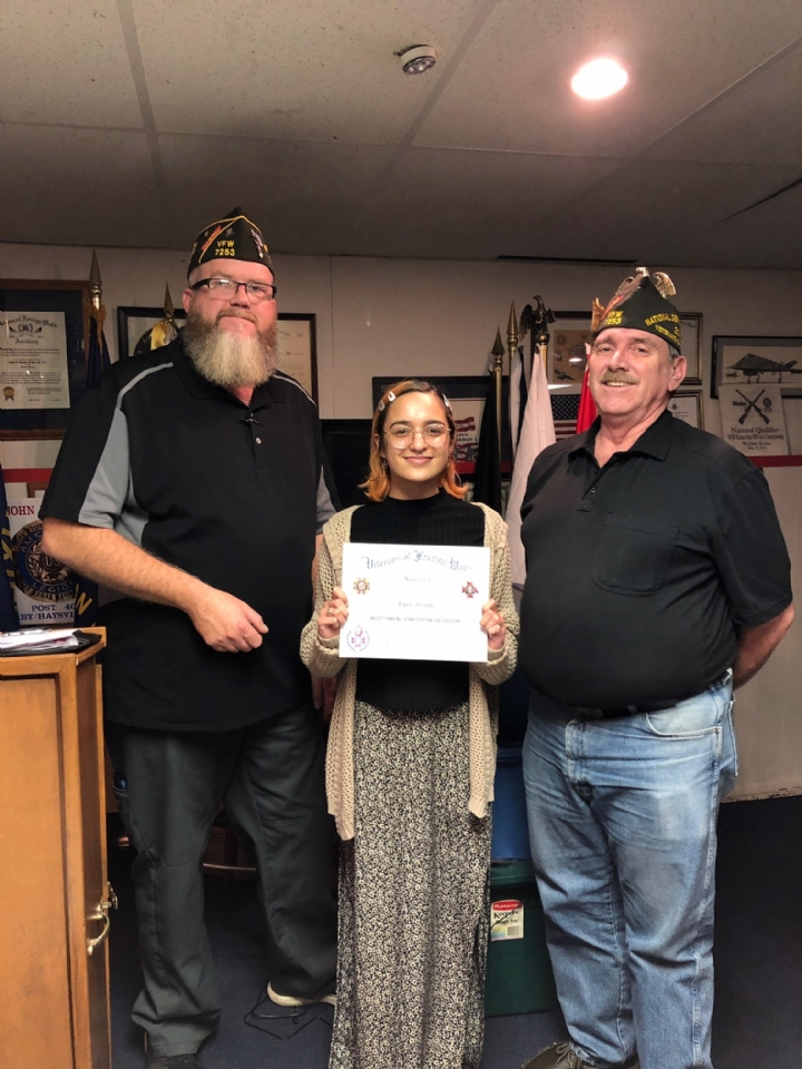 VFW Post 7253 Voice of Democracy winner Aspen Joseph from Complete High School in Maize, KS